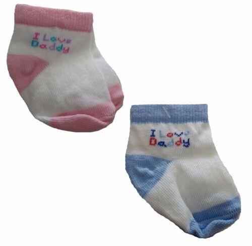 "Jefferies Socks Infant Baby /""I Love Daddy/"" Pink Blue Socks 3 Pair Pack"