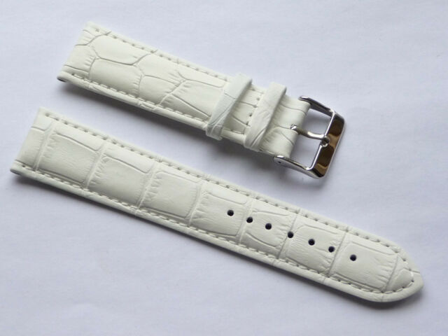High Quality White Genuine Leather Alligator Strap Fits Lug 22mm GUESS