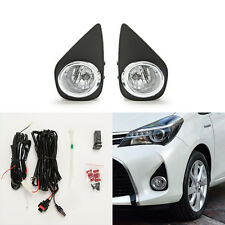Clear Fog Lights For 2015-2017 Toyota Yaris Hatchback 2/4DR w/Bezel Switch Bulbs
