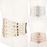 Women Funky Western Fashion Cage Corset Elastic Stretch Waist Metallic Wide Belt