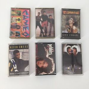 Lot-of-6-Retro-Funk-Dance-R-amp-B-Cassette-Tapes-Cameo-Sylvester-Pebbles-Keith-Sweat