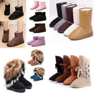 Womens-Girls-Winter-Warm-Suede-Fur-Lined-Mid-calf-Snow-Flat-Short-Boots-Shoes