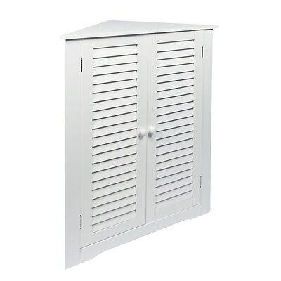 Woodluv Mdf Corner Storage Cabinet Home Hallway Bathroom Furniture Unit- White