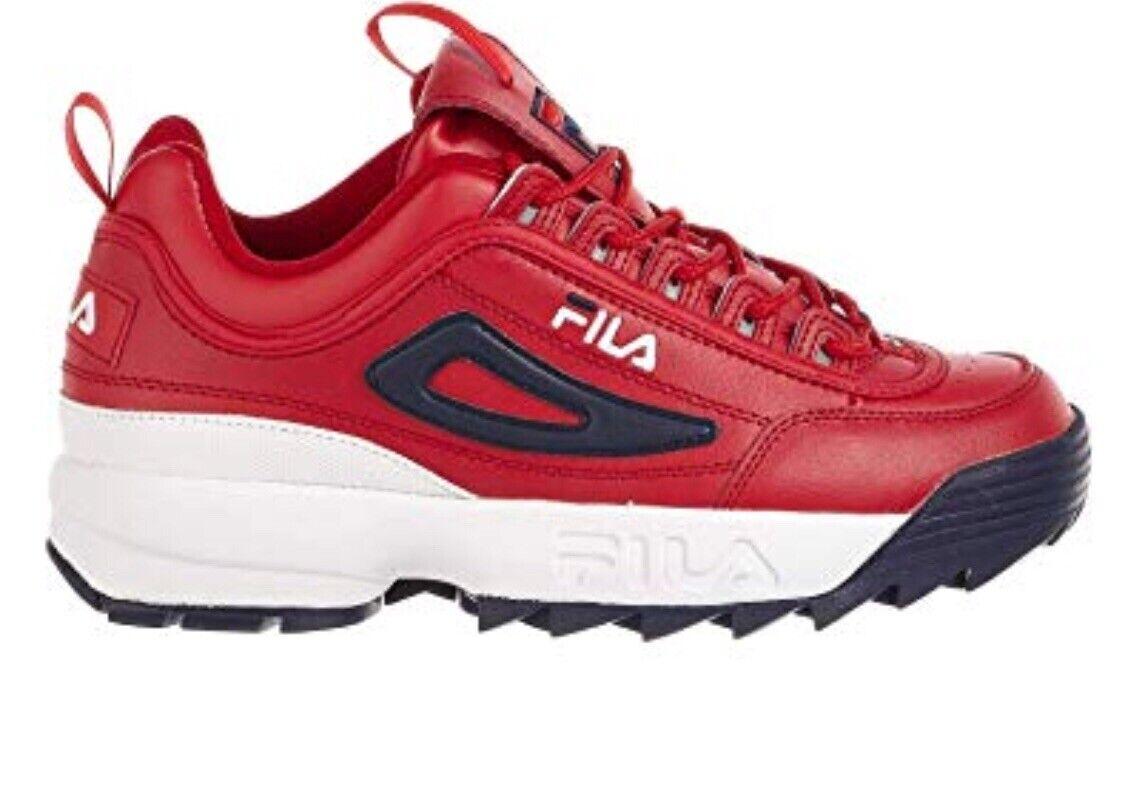 Fila Disruptor II Premium Men's Dimensiones. rosso bianca Navy. Leather Sautope classeiche da uomo