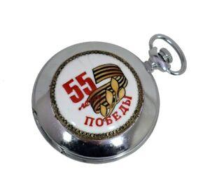 Russian-Pocket-Watch-MOLNIJA-w-hand-painted-Enamel-55-Years-of-Victory-in-WW-II