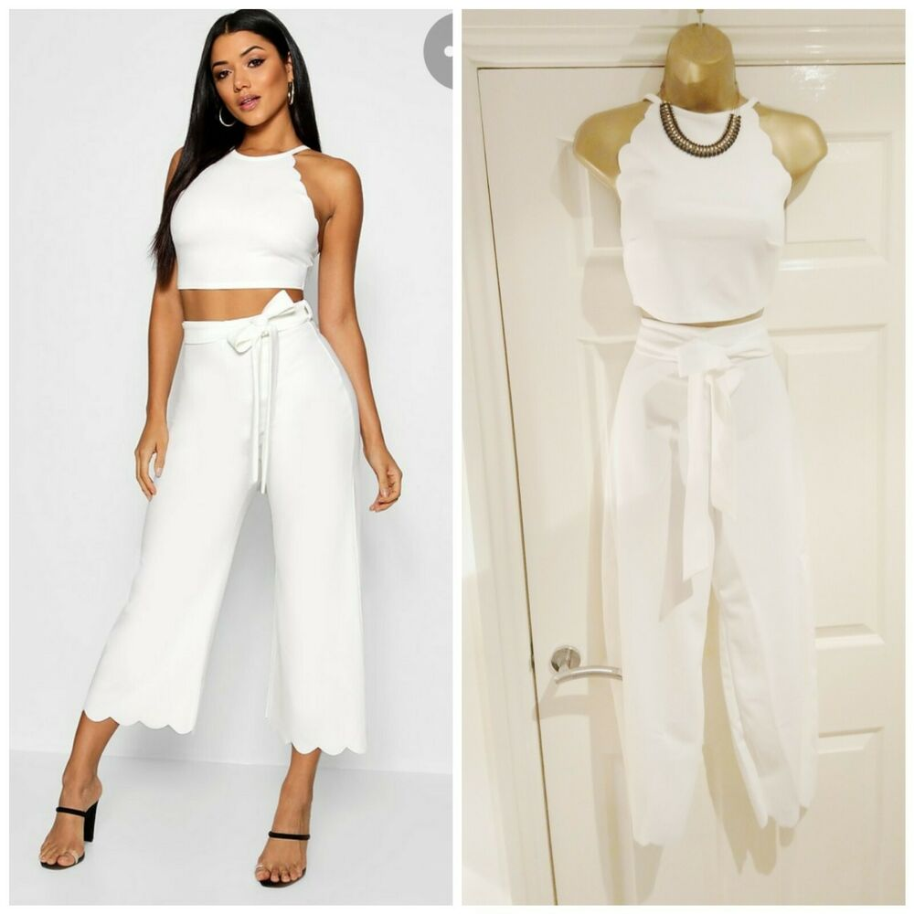 Boohoo Bnwt Sexy Blanc Sophie Pétoncle Edge Top Jupe-culotte Co Ord Set 12