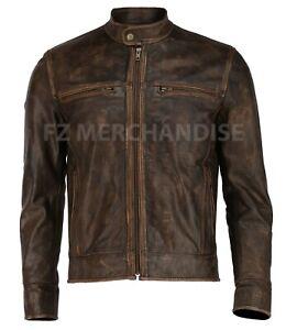 Distressed Wax Men/'s Biker Vintage Style Cafe Racer Motorcycle Leather Jacket