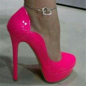 Women-Platform-Pumps-Round-Toe-Slim-High-Heel-Fuchssia-Shoes-Woman-Plus-Size-20