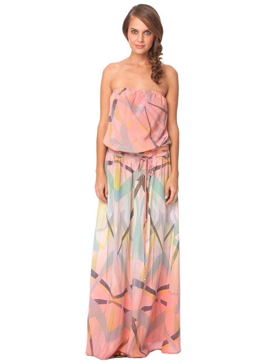 Gypsy05 EOS Pink Pink Pink Printed Silk Strapless Tube Maxi Dress, NWOT, Size XS 9e660f
