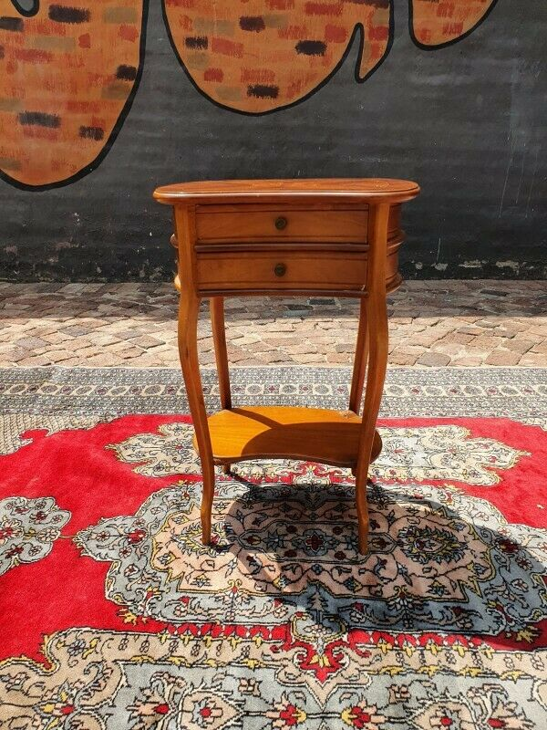 Edwardian/Italian serpentine fronted double drawer side table.
