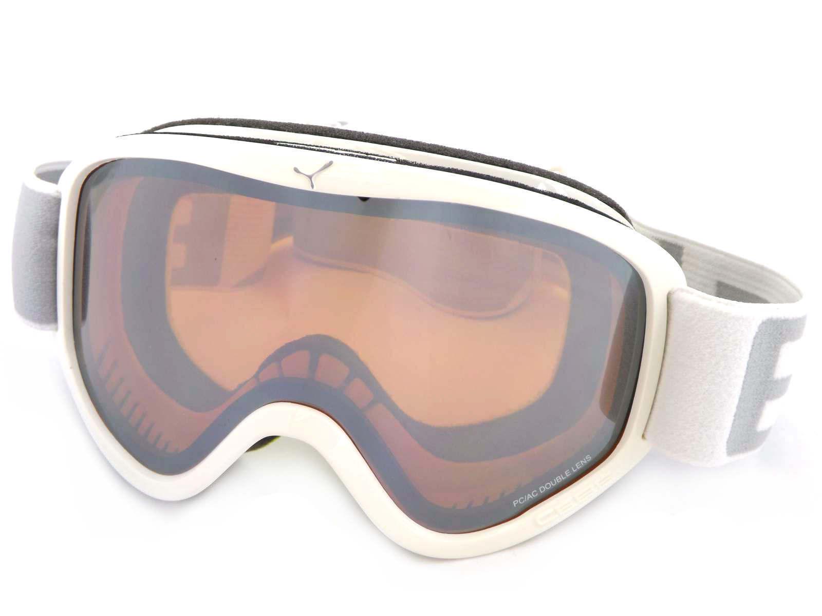 CEBE - STRIKER M ski snow Goggles SHINY WHITE  orange Flash Mirror Cat.2 CBG58