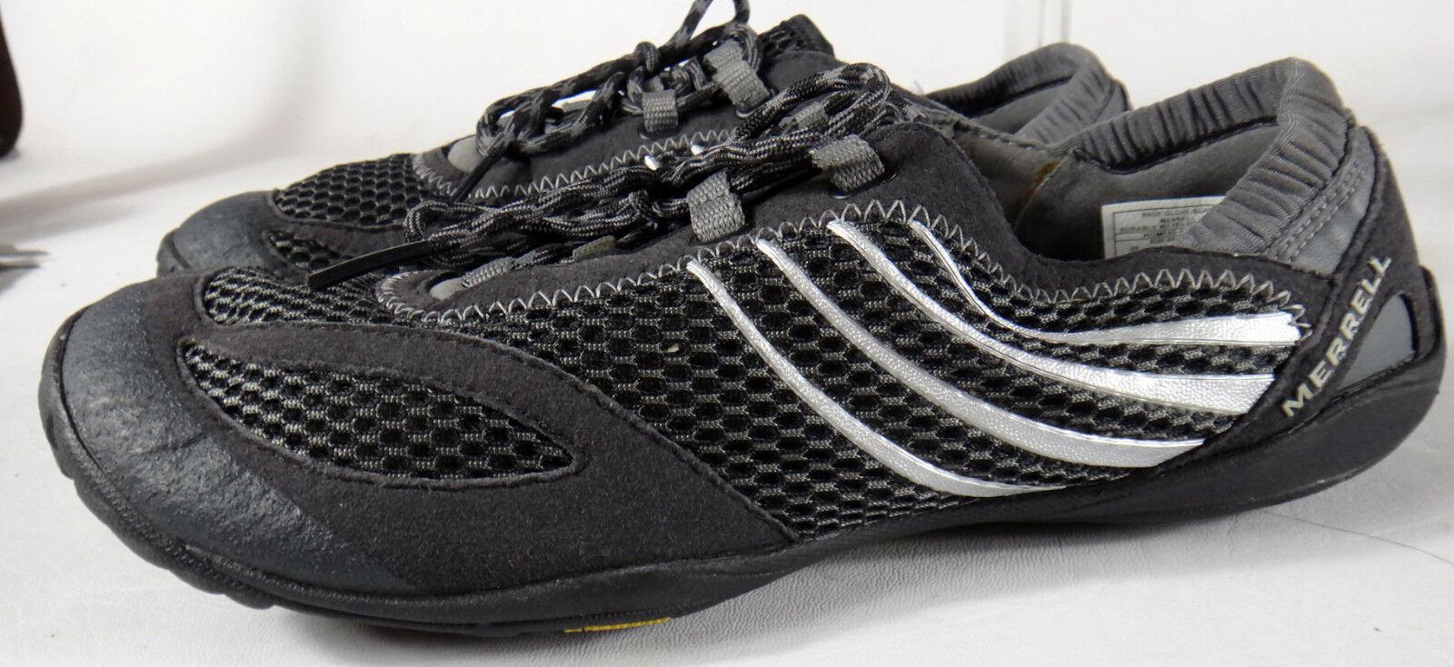 Merrell Vibram Barefoot running shoe black grey 9 40 glove pace women vegan