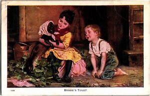 Dressing-the-Dog-Doggie-039-s-Toilet-Clothes-c1911-Vintage-Postcard-M23