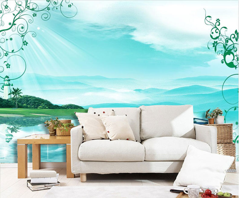3D bluee lake, sky 4343 Wall Paper Print Wall Decal Deco Indoor Wall Murals