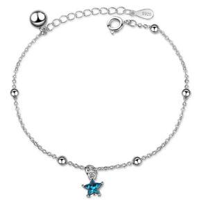 NEW-Women-039-s-Solid-925-Sterling-Silver-Blue-Zircon-Star-Ball-Beads-Chain-Bracelet