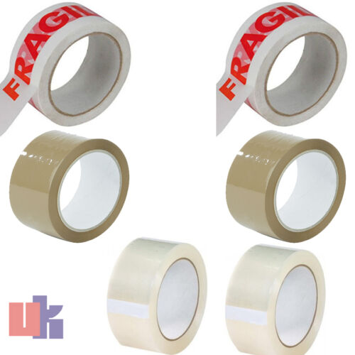NEW 6X ROLLS OF CLEAR BROWN /& FRAGILE PARCEL TAPE 2X CLEAR 2X BROWN 2X FRAGILE