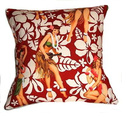 "BRAND NEW RED RETRO  HULA GIRLS  CUSHION COVER 16""x16"""