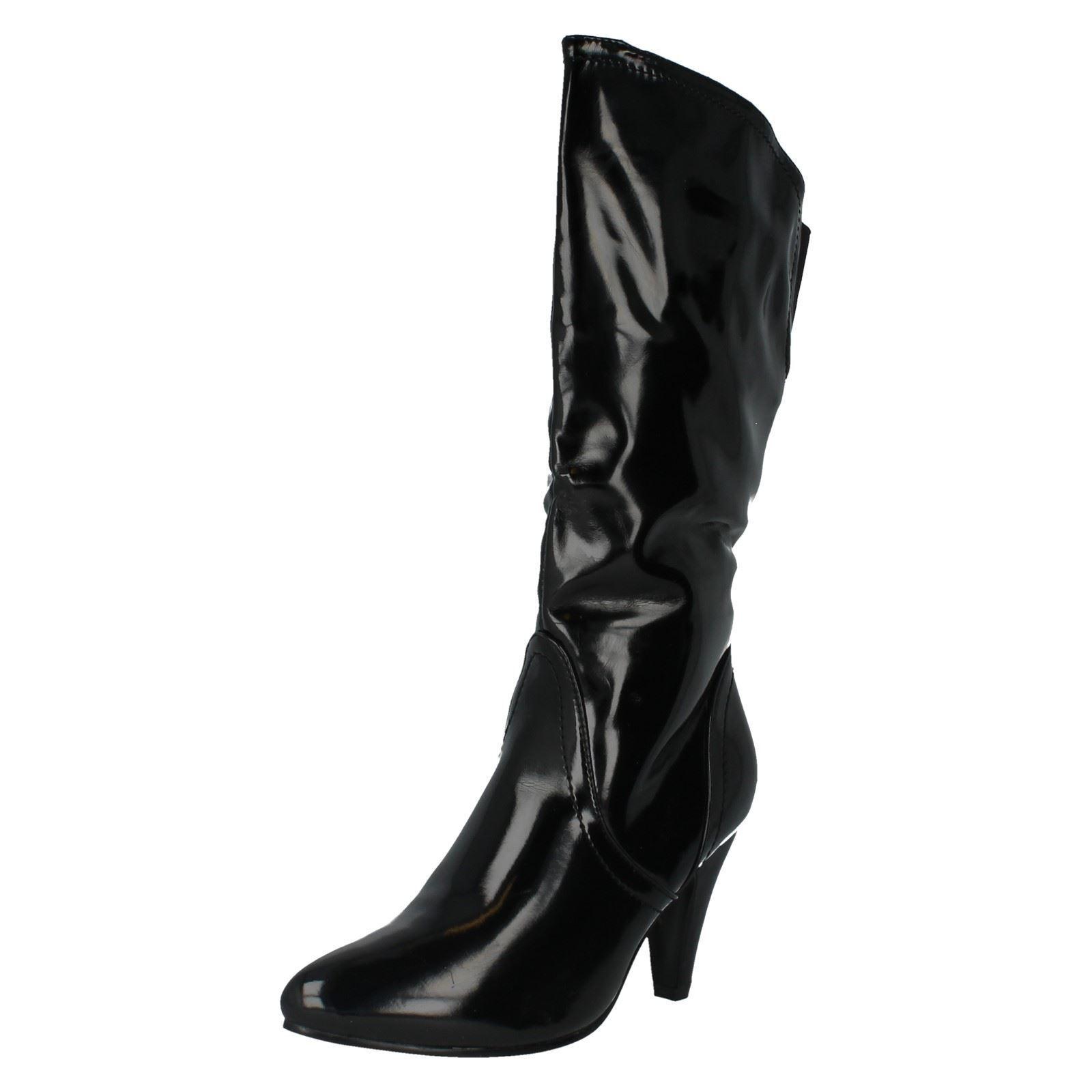LADIES SPOT ON BLACK PATENT MID CALF HEELED BOOT STYLE - F5677 UK 5