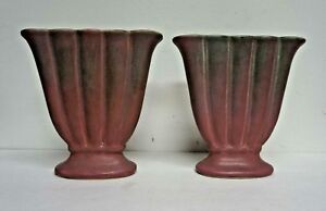 Pair-Muncie-Art-Pottery-Green-over-Lilac-186-Fan-Vases-Indiana-8-034