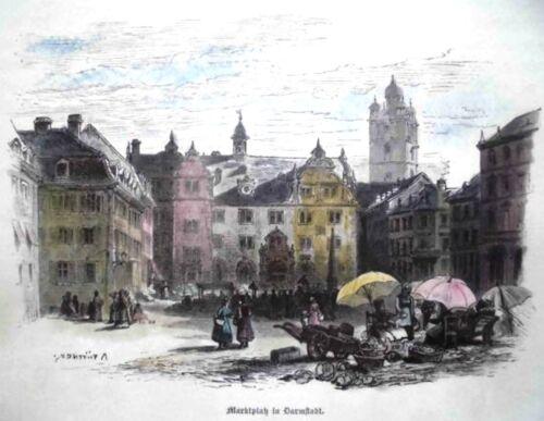 DARMSTADT.MARKTPLATZANSICHT.KOLORIERTER HOLZSCHNITT 1878/1880.PÜTTNER.
