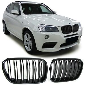 Grill Calandre Set pour BMW f25 x3 10-14 Noir Brillant Double quête Design