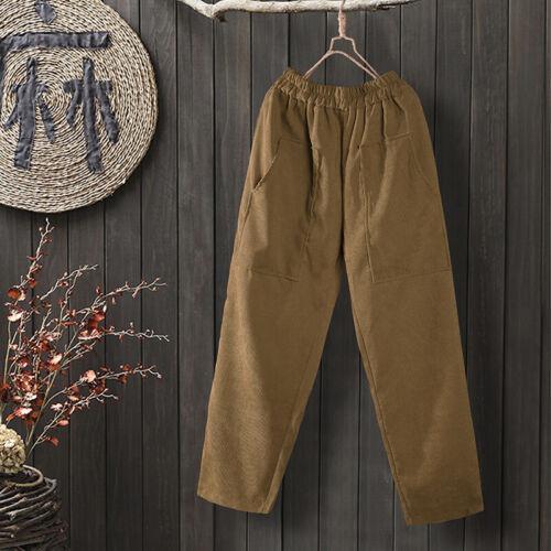 Womens Corduroy Elastic High Waist Harlan Pants Casual Loose Harem Trousers Plus