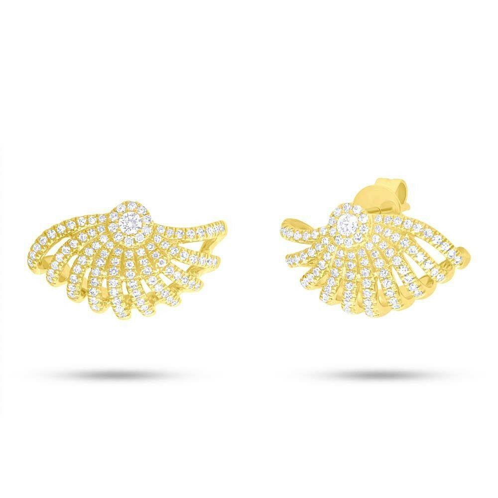 0.53 CT 14K Yellow gold Natural Round Cut Diamond Seashell Drop Stud Earrings