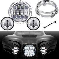 "7"" Led Cree Daymaker Headlight + Passing Lights For Harley Davidson Road King"