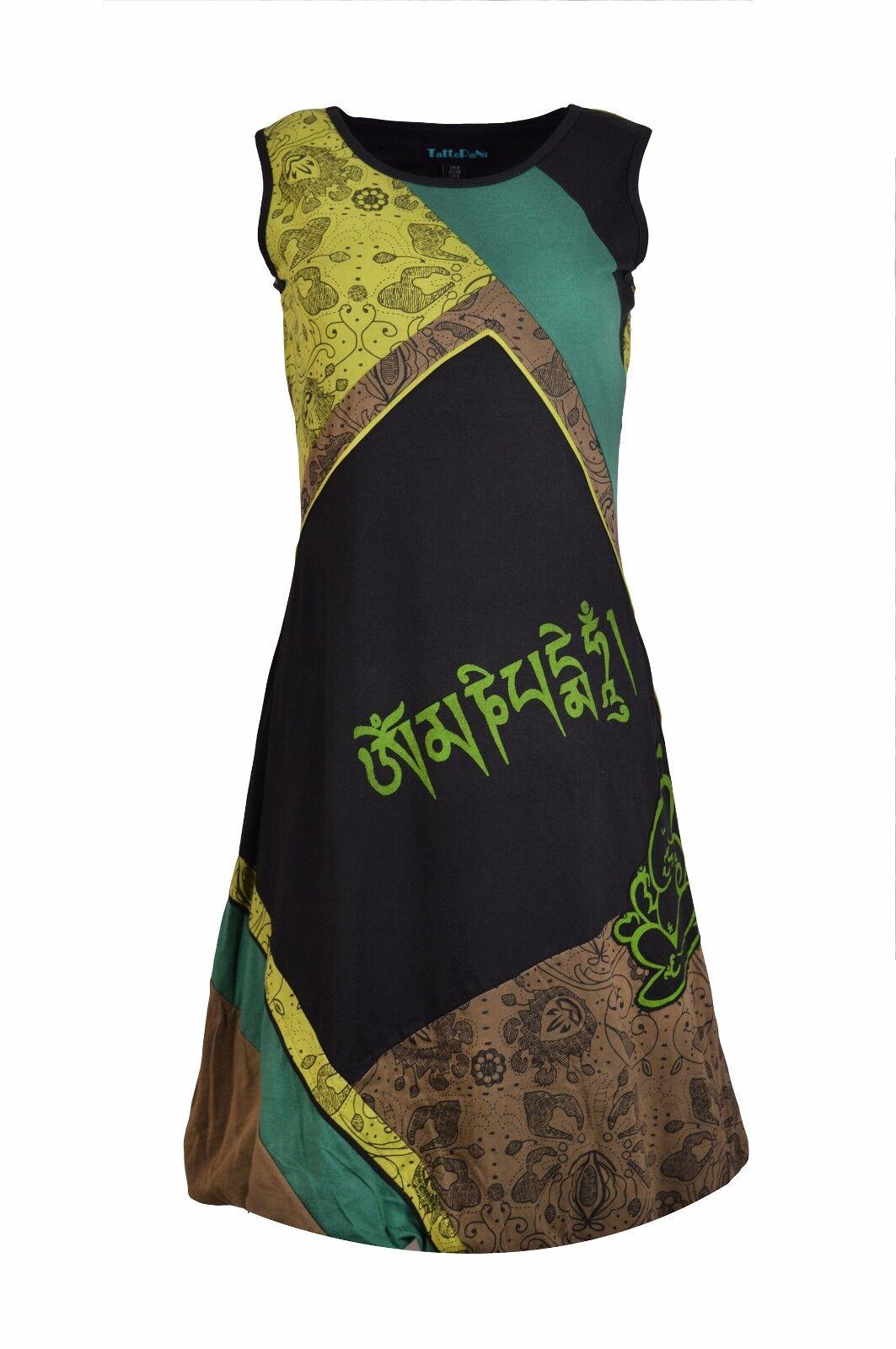 Damen Ärmellos Baumwolle Kleid Mantra & Ganesh Aufdruck Abendkleid