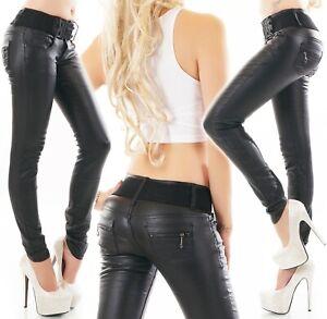 Vaqueros-senora-pantalones-de-cuero-piel-sintetica-look-mojado-piel-vaqueros-pitillo-Skinny-cinturon