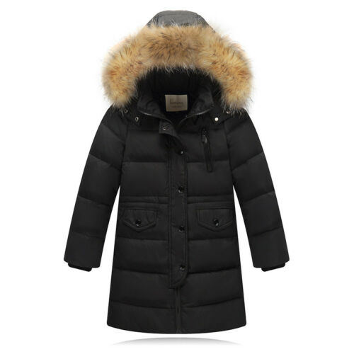 Winter Child Hooded Duck Down Parka Boy Girl Coat Warm Fur Long Jackets Overcoat