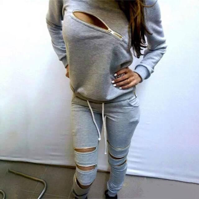 Womens Matching Set Tracksuit Sportsuit Casual Zipper Sweatshirt + Jogger Pants