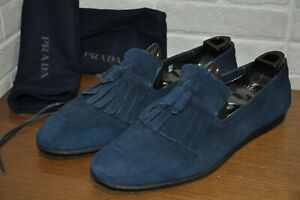 Authentic Pre-Owned Prada Blue Suede Tassel Loafer,UK10/US11
