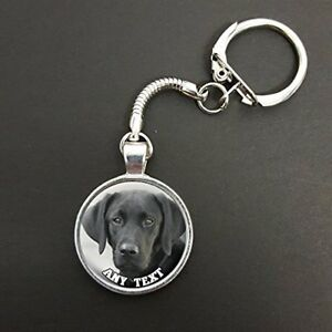 Personalised-Black-Labrador-Pendant-On-A-Snake-Keyring-Ideal-Birthday-Gift-N72w