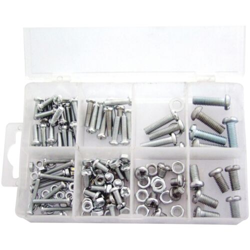 150PC ASSORTED NUT AND BOLT KIT SET M3 M4 M5 M6 NUTS /& BOLTS COMPARTMENT CASE