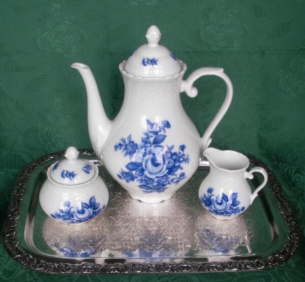 Brillant Schumann Arzberg Blaue Rose Echt Cobalt - Kaffeekanne, Zuckerdose, Milchkännchen