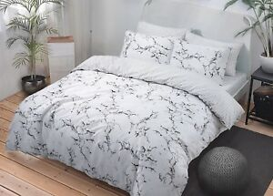 Duvet Cover Set Reversible Marble Grey /& Pink with Pillowcase Single Double King