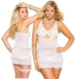 690663c673 Sexy White Lace Babydoll Nightie Women Plus Panty Set Wedding Bridal ...