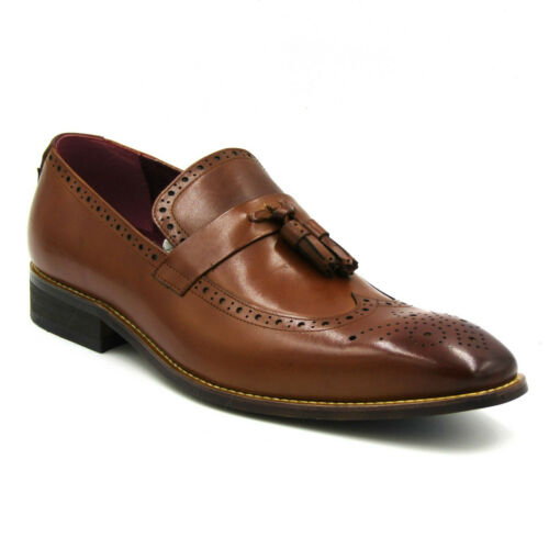 TAN AZOR MEN/'S TUSCANY MANCHESTER WINGTIP TASSEL LEATHER LOAFER BROGUE SHOES