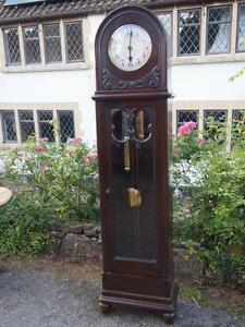 Beautiful-Old-Vintage-Antique-Art-Deco-Grandfather-Longcase-Clock-Great-Shape