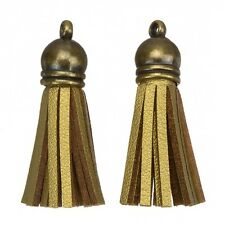 Gamuza con borlas Dijes Con Bronce de la PAC para joyería Gold/brown 36mm (h22/6)