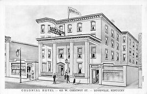 LOUISVILLE-KY-COLONIAL-HOTEL-422-W-CHESTNUT-ST-ARTIST-DRAWN-POSTCARD