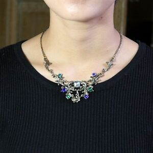 Collier-Fin-Arbre-Feulle-Fleur-Bleu-Vert-Retro-Vintage-Style-Original-Soiree-AZ2