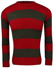 Adult Unisex HALLOWEEN Fancy Dress Red and Green Striped Jumper And Hat Set