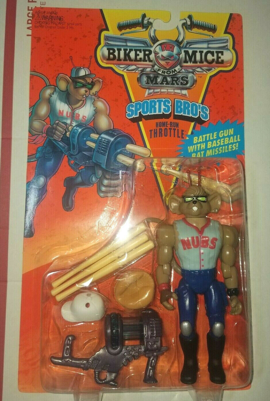 1994 Biker Mice From Mars Home Run Throttle baseball Action Figure motorcycle