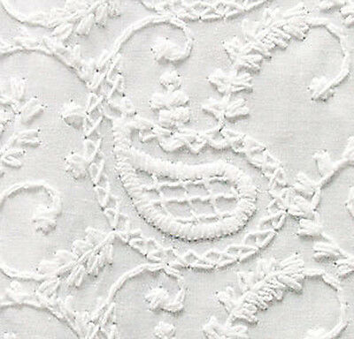 """Embroidered Cotton Fabric. White-on-White Or Dye It.  43"""" Wide, One Yard"""