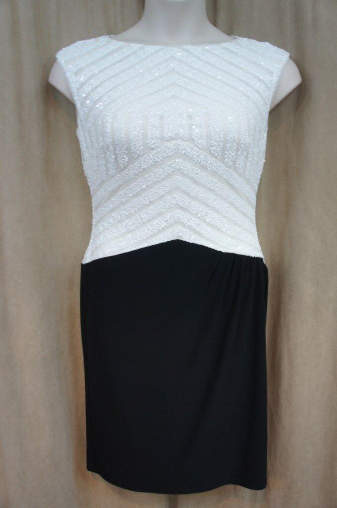 Ralph Lauren Dress Sz 6 schwarz Weiß Sequined Sleeveless Cocktail Party Dress