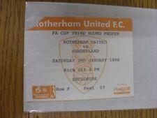 03/01/1998 Ticket: Rotherham United v Sunderland [FA Cup] (corner torn). Thank y