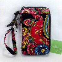 Vera Bradley Symphony In Hue Wristlet Wallet Black Flower Red Blue