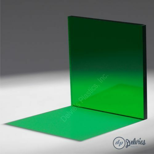 "1//8/"" 2092 Transparent Green Cell Cast Acrylic Sheet  12/"" x 12/"""